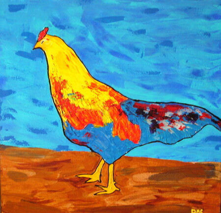Rooster with Blue Tail Feathers