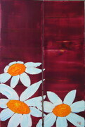Three Daisys on Red Diptych