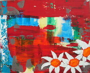 Three Daisies on Red