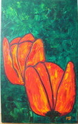 Two Red Tulips on Green